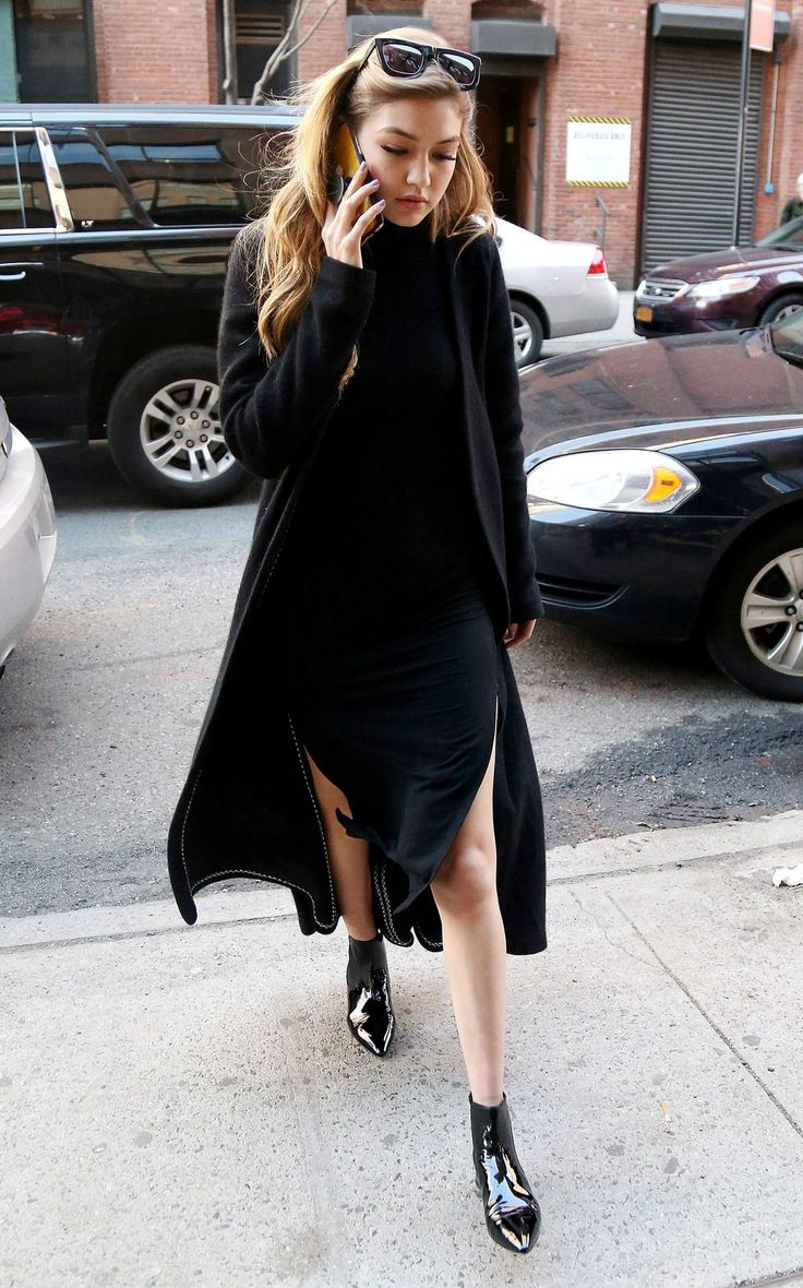 Gigi Hadid — Pair a black high-neck midi-dress with black ankle boots for an effortlessly chic look.