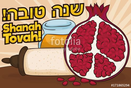 Pomegranate Sliced, Honey, Scroll and Greetings for Jewish New Year