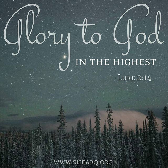 """Glory to God in the highest and on earth peace, good will to all people."" (Luke 2:14) Praising God for sending His Son for us! . . #sheabq #canigetanamen #scripture #Christmas #joytotheworld #advent #hope #peace #glorytogod #sheministries"