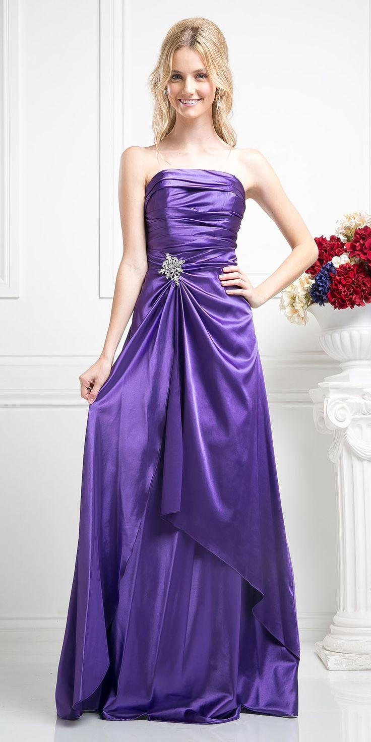 Clearance long strapless purple dress satin rhinestone