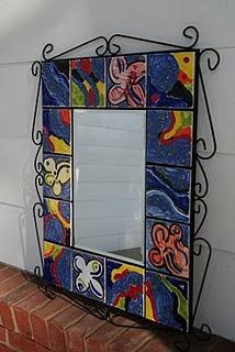 Hand Painted Ceramic Tile Mirror / School Auction - Art Class