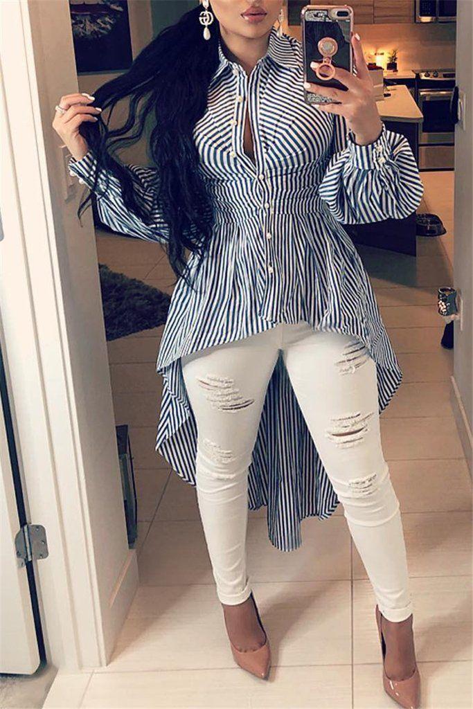 94d606e80d Button Up Long Sleeve Striped Asymmetric Shirt – WHATWEARS