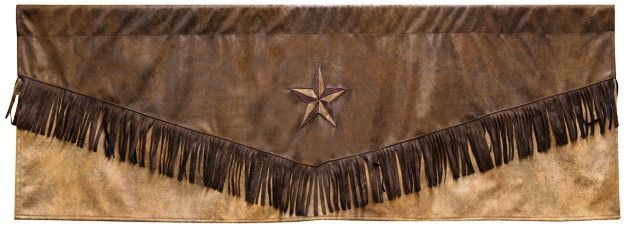 """(CARJB4179) """"Brown Mustang"""" Western Valance with Star"""