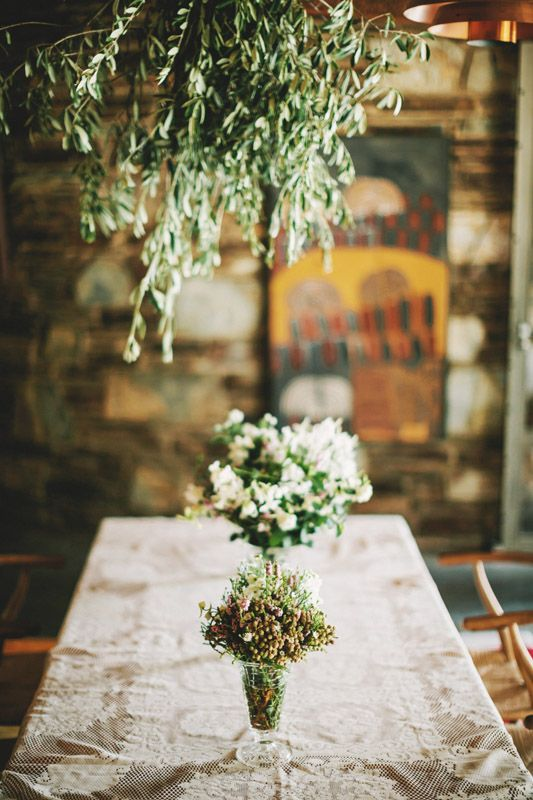 pretty table cloth and flowers