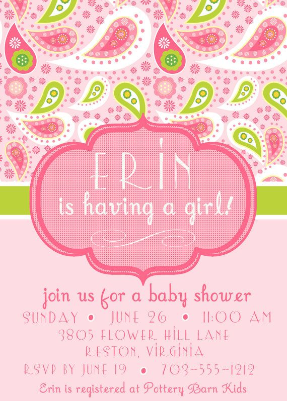 paisley baby shower invite