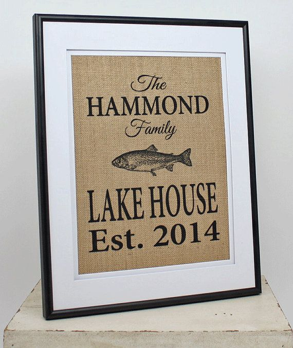 Personalized Burlap Lake House Decor Custom by 33marketstreet
