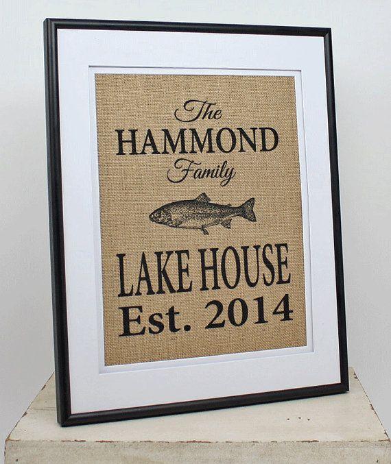 Personalized Burlap Lake House Decor Custom by 33marketstreet
