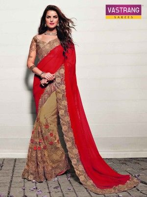 Beige and Red Embroidery Georgette and Net saree with blouse
