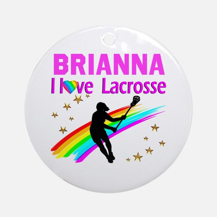 LACROSSE PLAYER Round Ornament Calling all Lacrosse players! Awesome Lacrosse Girl designs on Tees and Gifts. http://www.cafepress.com/sportsstar/13899001 #GirlsLacrosse #Lovelacrosse #Chickswithsticks #LacrosseGirl