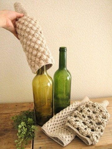 crochet wine bottle cover.INSISTO,PARA FLORES!!!