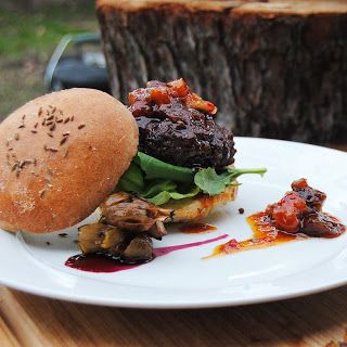 Ostrich burgers with pickled waterblommetjies and dried fruit atchar http://cookanelephant.blogspot.com/2013/07/freshly-blogged-challenge-week-3.html