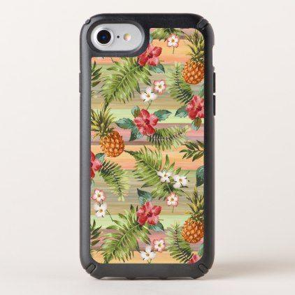 Fun Tropical Pineapple Fruit Floral Stripe Pattern Speck iPhone Case - flowers floral flower design unique style