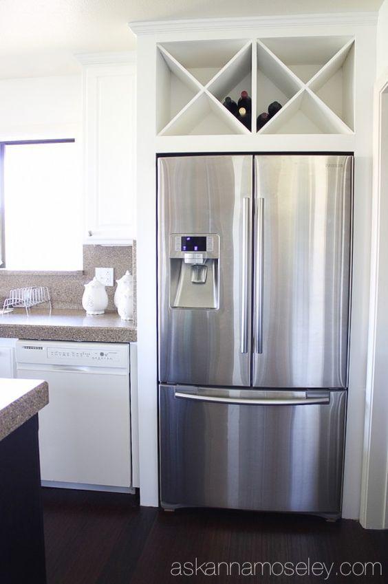 Custom wine rack above fridge instead of a useless cabinet – Ask Anna