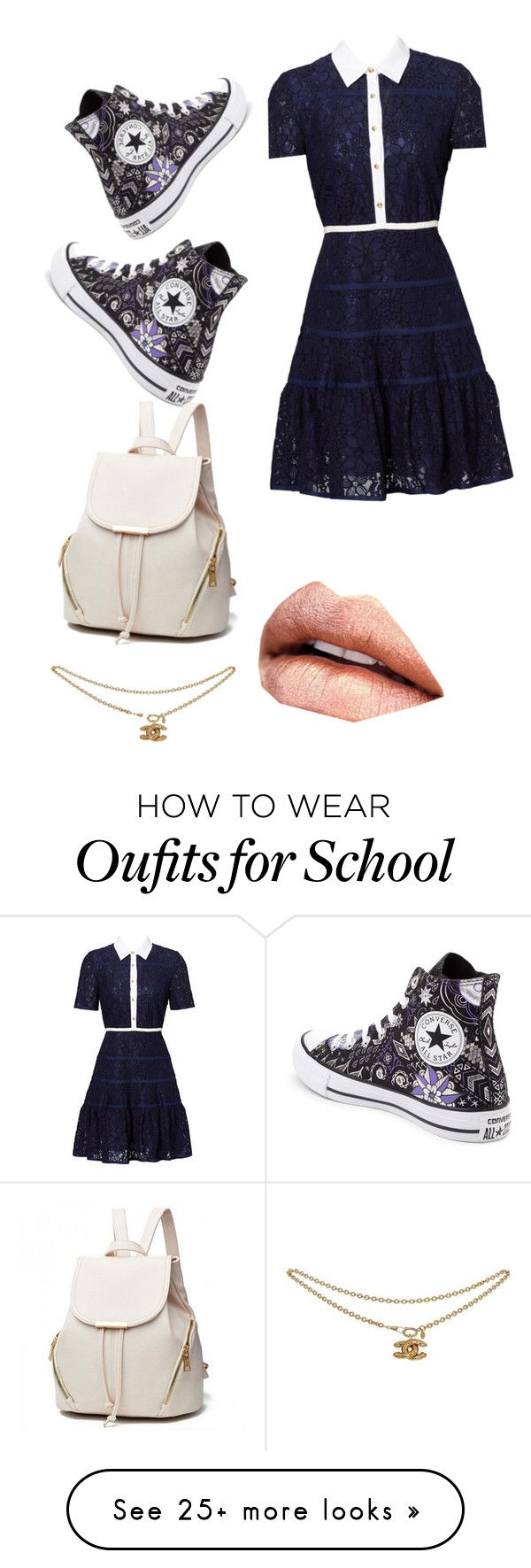 """my school look"" by emmanuellajean on Polyvore featuring Draper James and Converse"