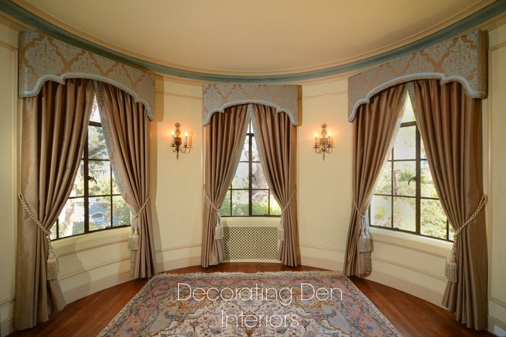 Cornices and draperies give the room the feeling the princess of the castle lives here