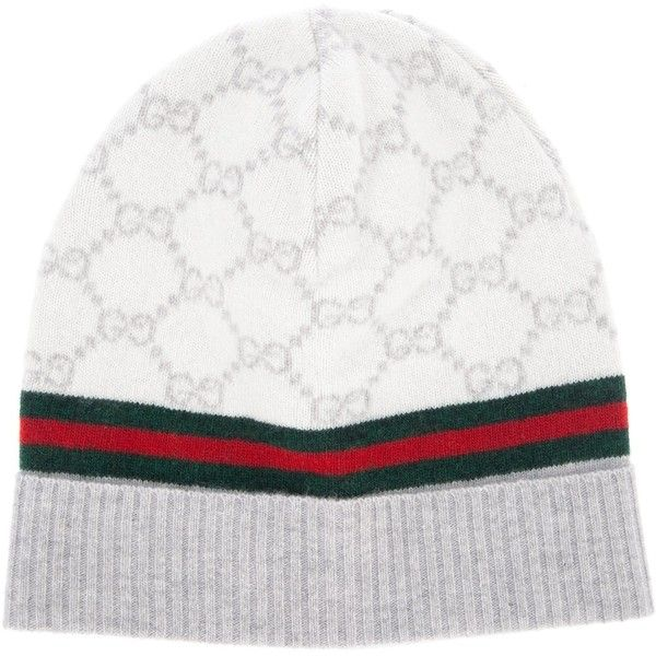e061f415b416 GUCCI monogram beanie hat ( 170) ❤ liked on Polyvore featuring accessories