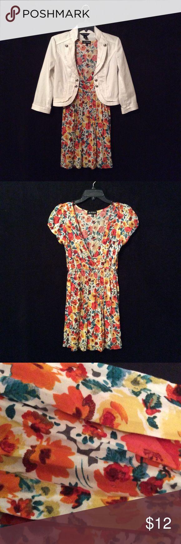 "As U Wish floral print dress Junior size M Cute summer dress. 100% Rayon. Missing belt.  30"" from collar to hem. 17"" arm to arm. As U Wish Dresses Mini"