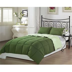 Queen 3-Piece Reversible Down Alternative Comforter Set in Green - Furnishdream.com- Online Store for Furniture, Home Decor, and more...