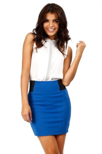 Cornflower blue mini skirt with a pencil cut