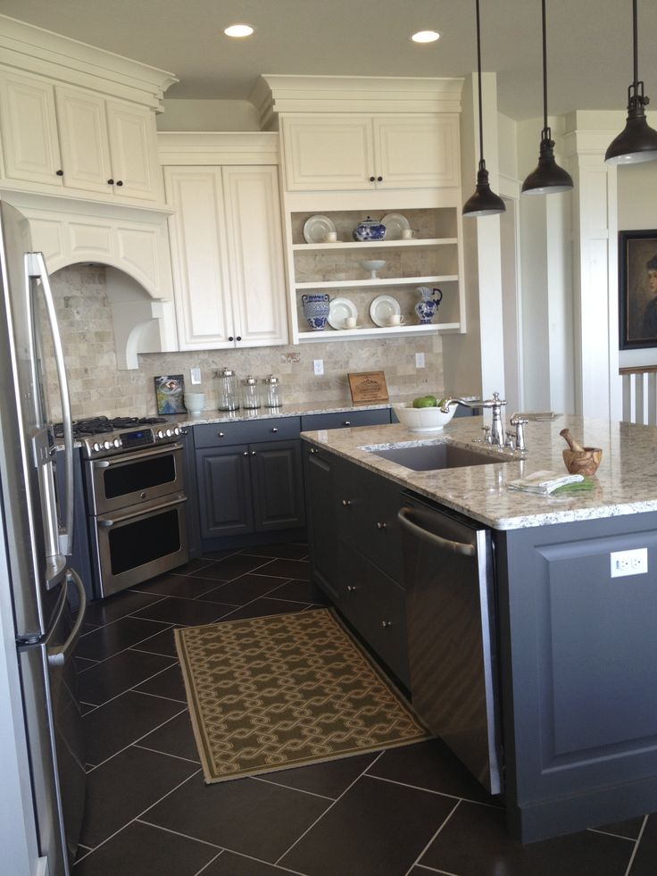 Charcoal Base Cabinets And Island, White Upper Cabinets