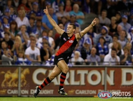 Essendon's Brent Stanton celebrates a goal during the AFL Round 01 match between the North Melbourne Kangaroos and the Essendon Bombers at Etihad Stadium, Melbourne. (Photo: Greg Ford/AFL Media)