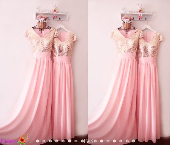 Prom Dress with Sleeves,Modest Sequin Metallic Prom Dress 2016,Gold Prom Dress,Pink Prom Evening Dress,Bridesmaid Dress Long, Prom Dresses