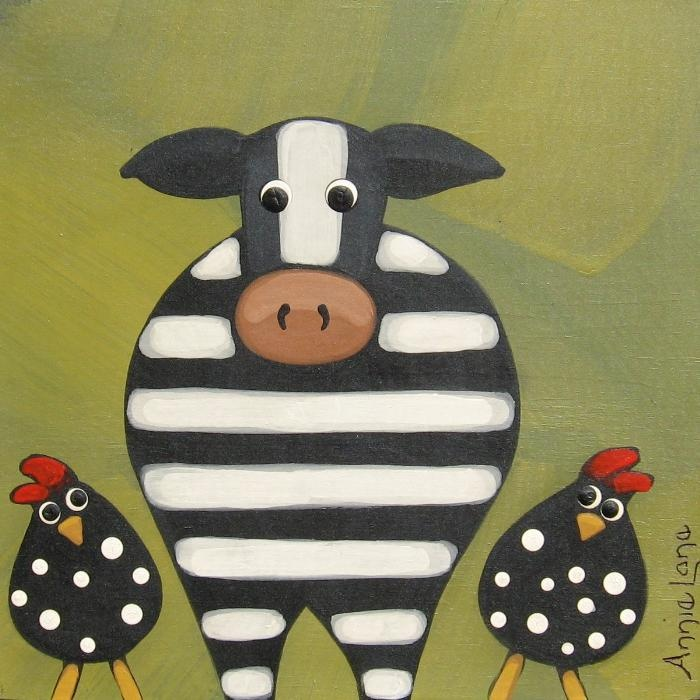 Stripes & Polka Dots - Whimsical Cow and Chickens Painting, Art by Annie Lane  www.yessy.com/annielane