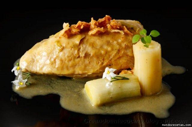 Supremas de pollo con salsa de puerros y cebolla (Dieta)