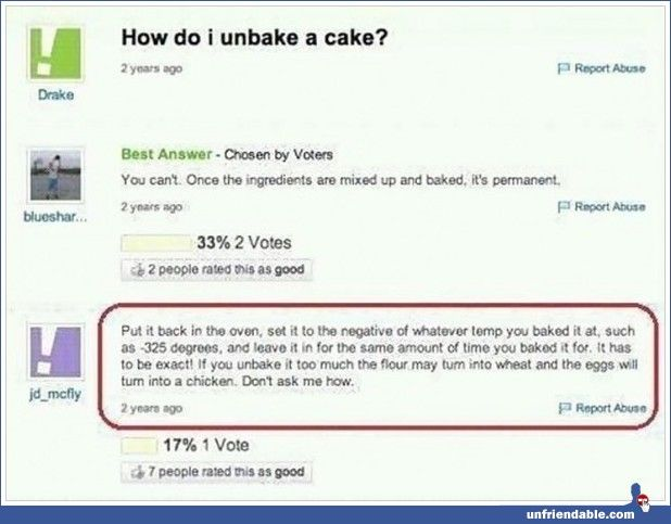 Unbaking a cake - Yahoo! Answers - Unfriendable
