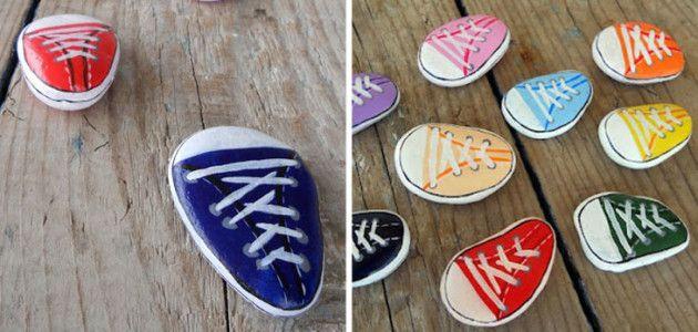 Piedras pintadas de zapatillas deportivas #manualidades