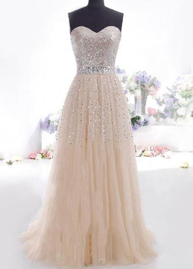 Beautiful Off the Shoulder Sequined Embellished Long Ivory Dress