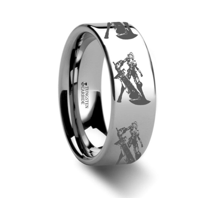 Riven The Exile Tungsten Engraved Ring League of Legends Jewelry - 8mm This is a precision crafted ring from our line of Comfort Fit Tungsten Carbide Rings. This ring has the League of Legends charact