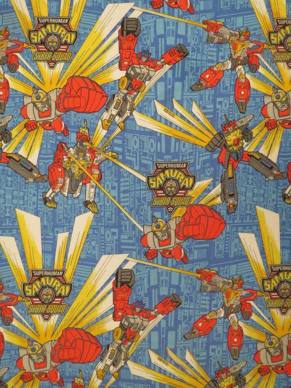 Vintage Superhuman Samurai Syber-Squad twin flat sheet