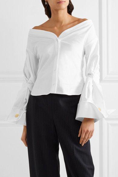 Jacquemus - Off-the-shoulder Cotton-piqué Shirt - Off-white - FR40