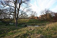 Somerton Castle is located approximately one mile west of the hamlet of Boothby Graffoe in Lincolnshire, England.