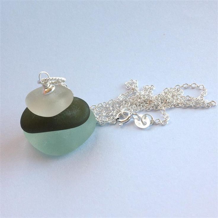 Discover Me : Firecracker Studio : Silver and Sea - deep green, and blue 3 stack sea-glass sterling silver necklace