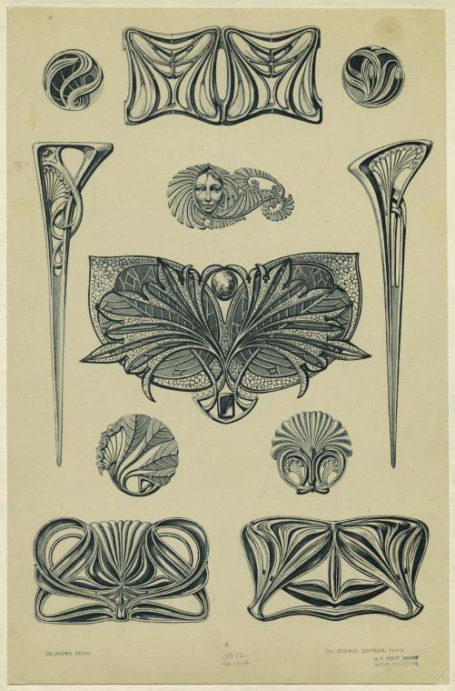 История красоты - Старинные эскизы ювелирных украшений в стиле Арт Нуво