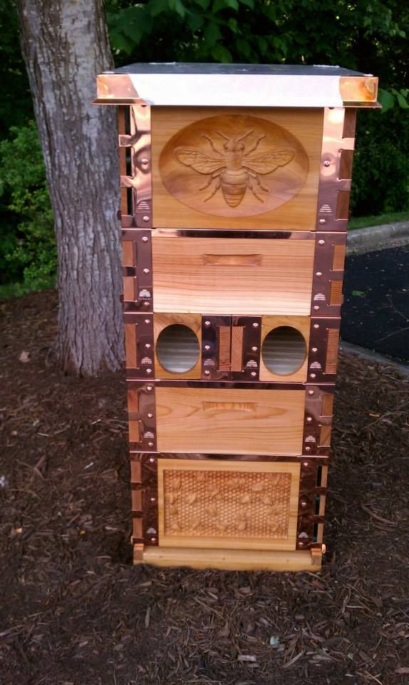 Eco Bee Box. This was made from our western red cedar. There are a lot of cool details on this one. This bee box is truly fit for a queen.