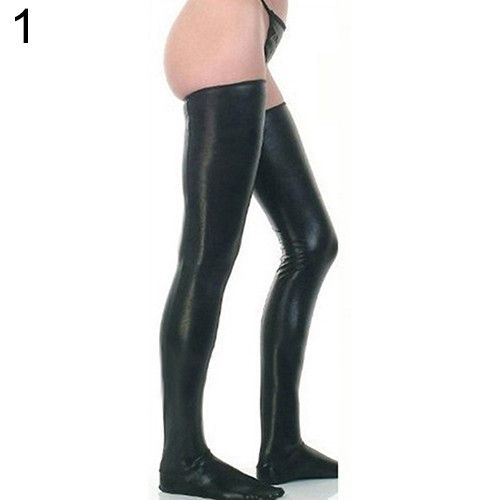 Women Glam Rock Gothic Thigh High Sexy Latex Catsuit Stockings Thongs G-String