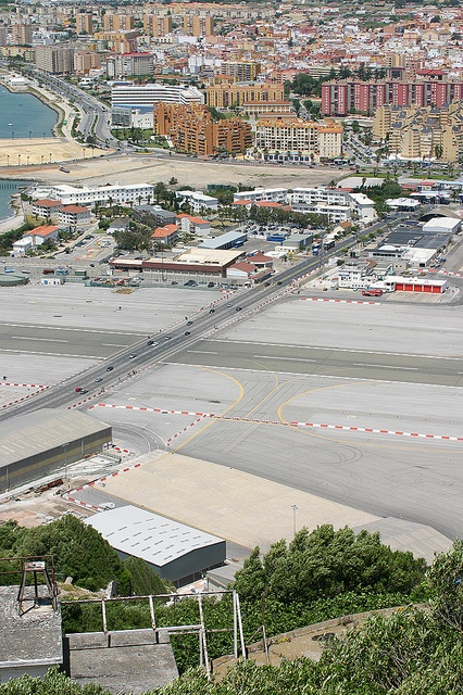 Gibraltor Airport - divides the country from Spain & this road is through the runway - the width of the country