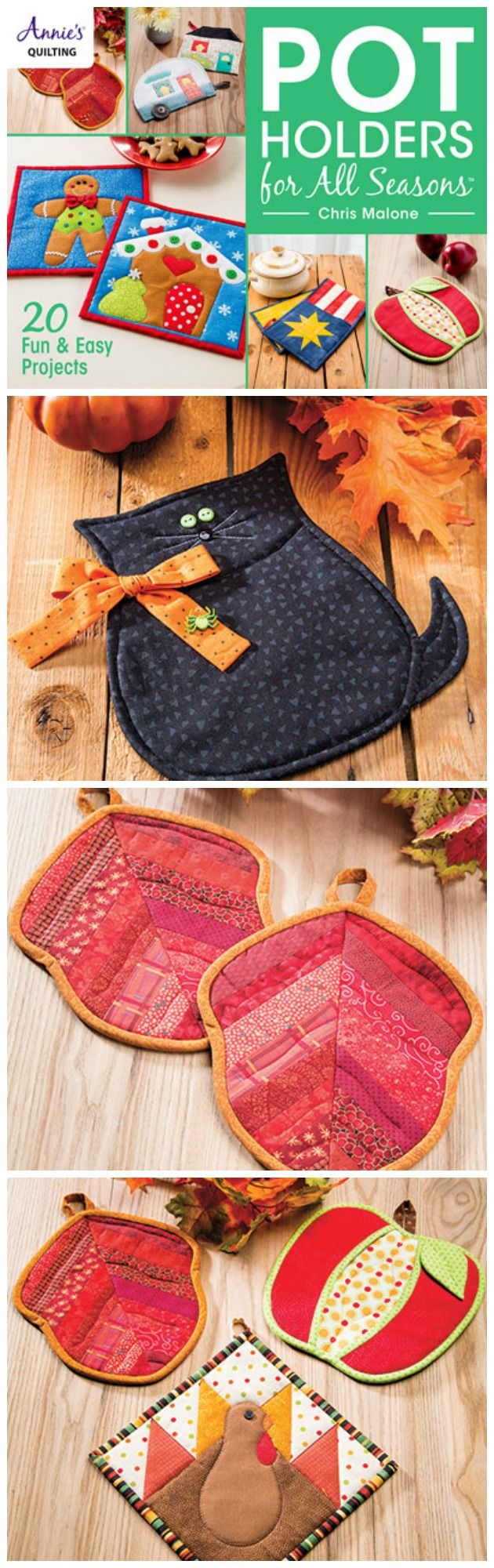 Fall, Halloween and Thanksgiving potholder sewing patterns, from the Pot Holders for All Seasons book.
