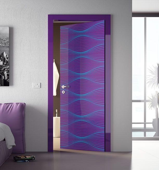 purple and teal door design