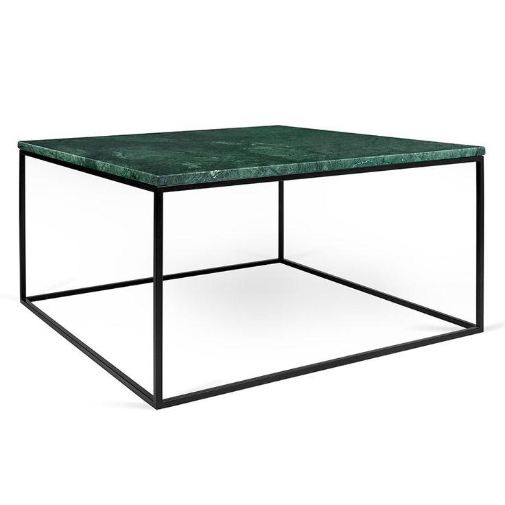 Gleam Green Marble Top + Black Metal Base Square Modern Coffee Table