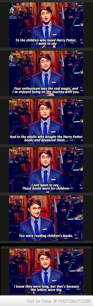 To All The Harry Potter Adult Readers-loooooooooool the letters weren't even big it was just too good