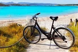 FORMENTERA NA ROWERACH Autokar odbiera pasażerów z hotelu lub umówionego miejsca spotkań i przewozi do portu w Ibizie, skąd wypływa statek na Formenterę. Statek dopływa do portu La  Sabina. Plan wycieczki rowerowej jest następujący: port La Sabina - stolica wyspy San Francisco (czas wolny) - plaża Es Pujol lub Levanete (czas na piknik na plaży) – Salinas – port La Sabina skąd odpływa prom do portu w Ibize. Powrót autokarem do hotelu. Czas trwania wycieczki około 7-8 godzin.