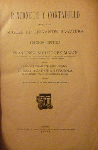 Rinconete y Cortadillo / Miguel de Cervantes ; edición crítica por Francisco Rodríguez Marín