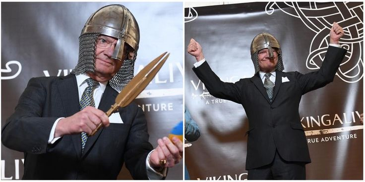 King Carl Xvi Gustaf Of Sweden At The Opening A Viking Museum