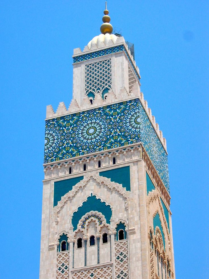 Tallest Minaret in the world. Hassan II Mosque in Casablanca. It took 13 years to build and over 1 billion dollars worth of luxury craftsmanship.