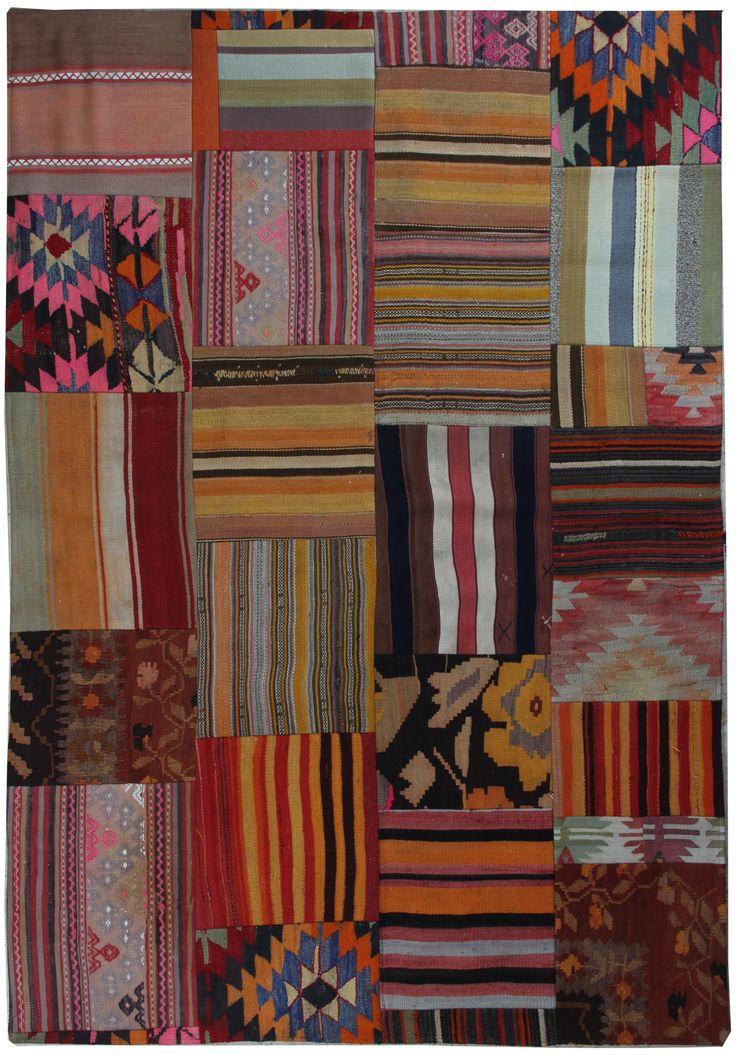 7'7''x5'5'' Rustic Turkish Kilim Patchwork Rug Made From Various Vintage Kilims - TheOrientBazaar | The Orient Bazaar