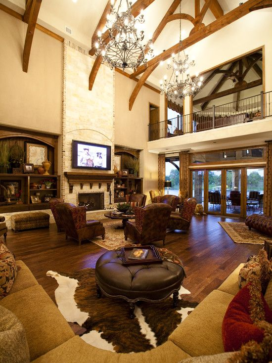 like the color scheme and iron work, fireplace is anticlimactic, love the leather and cowhide